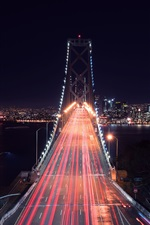 Preview iPhone wallpaper City bridge, San-Francisco, road, light lines, night, buildings, USA