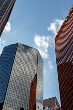 Edifícios da cidade, arranha-céus, céu, nuvens
