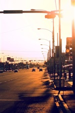 Preview iPhone wallpaper City, road, cars, traffic, sunlight
