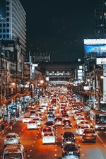 Preview iPhone wallpaper City, traffic, cars, lights, night, street, art style
