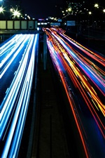 Preview iPhone wallpaper City traffic, colorful lights, night