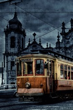 Preview iPhone wallpaper City tram, dusk