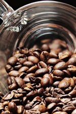 Coffee beans, glass cup
