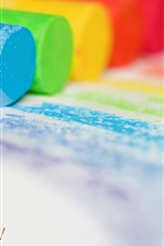 Preview iPhone wallpaper Colorful chalks, paper