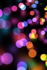미리보기 iPhone 배경 화면 다채로운 원, 섬광, 검은 색 배경