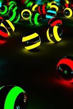 Preview iPhone wallpaper Colorful light balls, black background