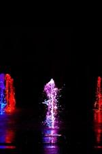 Colorful light, water liquid splash, fountain, night
