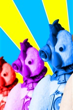 Preview iPhone wallpaper Colorful robot chicken