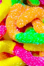 Preview iPhone wallpaper Colorful worms candy, soft sugar
