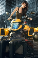 Preview iPhone wallpaper Cool motorcycle, Asian girl