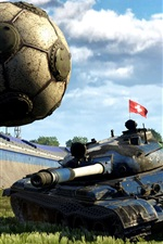 Preview iPhone wallpaper Creative picture, football, tank, grass, Eiffel Tower