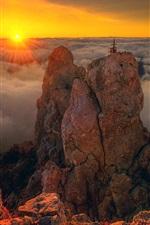 Preview iPhone wallpaper Crimea, AI-Petri, rocky mountains, clouds, sunrise