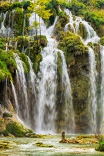 Preview iPhone wallpaper Croatia, Plitvice National Park, waterfalls, trees, autumn