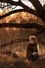 Bonito, menina, sentar, chão, natureza, árvores, sol