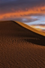 Preview iPhone wallpaper Desert, dunes, clouds, dusk
