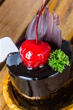 Preview iPhone wallpaper Dessert, chocolate cake, cherry, sweetness food