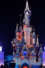 Preview iPhone wallpaper Disneyland beautiful night view, castle, lights