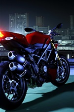 Preview iPhone wallpaper Ducati motorcycle, rear view, night, city
