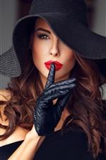 Elegance girl, gloves, makeup, hat
