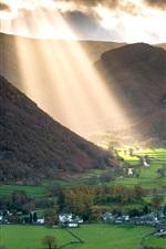 England, valley, village, fields, mountains, sun rays