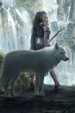 Preview iPhone wallpaper Fantasy girl and wolf, mountains, waterfalls