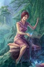 Preview iPhone wallpaper Fantasy girl, magic, trees, pond, lotus, baby