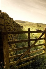 Preview iPhone wallpaper Fence, gate, grass, stones, farm