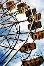 Preview iPhone wallpaper Ferris wheel, amusement, clouds, sky