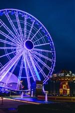 Preview iPhone wallpaper Ferris wheel, lights, city, street, night