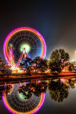 Preview iPhone wallpaper Ferris wheel, river, bridge, city, night, lights