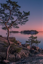 Preview iPhone wallpaper Finland, Gulf of Finland, island, trees, sea, sunset