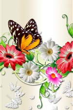 Preview iPhone wallpaper Flowers and butterfly, creative design