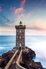 Preview iPhone wallpaper France, Kermorvan Lighthouse, sea, coast, dusk