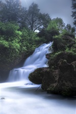 Preview iPhone wallpaper France, Navacelles, waterfall, trees, sun