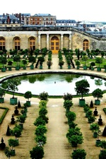 France, Versailles, garden, buildings, trees, pond
