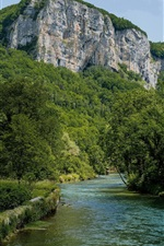 Preview iPhone wallpaper France, house, trees, greens, mountains, river
