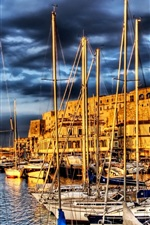 Preview iPhone wallpaper France, minor pier, boats, river, houses, clouds, HDR style