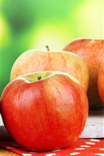 Preview iPhone wallpaper Fresh red apples, fruit photography, green background