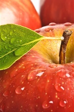 Fresh red apples, water drops, leaf