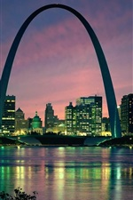 Preview iPhone wallpaper Gateway, arch, Saint Louis city, USA, buildings, river, dusk