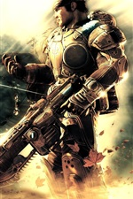 Preview iPhone wallpaper Gears of War, soldier, gun