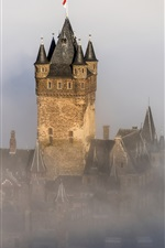 Preview iPhone wallpaper Germany, Reichsburg Cochem, castle, fog