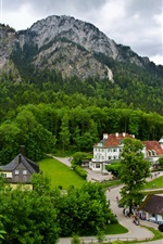 Preview iPhone wallpaper Germany, Schwangau, town, mountains, forest, trees