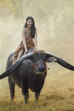 Girl ride buffalo, Thailand