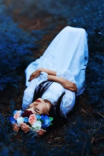 Preview iPhone wallpaper Girl sleep on ground, flowers, wreath