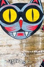 Graffiti, parede, gato, criativo