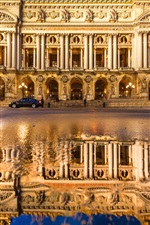 Grand Opera, France, Paris, water reflection, city, night, lights