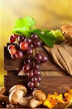 Preview iPhone wallpaper Grapes, mushrooms, pumpkin, pear, box, autumn