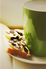 Preview iPhone wallpaper Green cup, drinks, chocolate sandwich, book