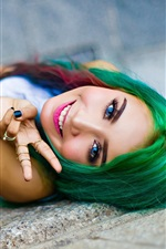 Preview iPhone wallpaper Green hair, blue eyes girl, happy